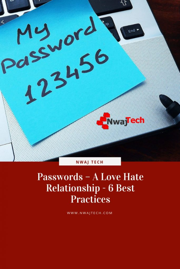 Passwords – A Love Hate Relationship - 6 Best Practices pin
